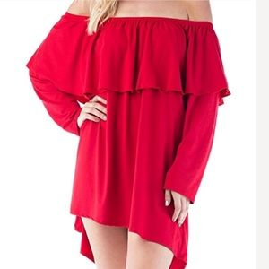 New Off Shoulder Double Layer Flounce Tunic